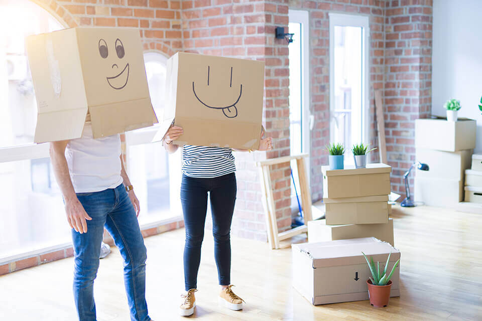 People with boxes on their heads