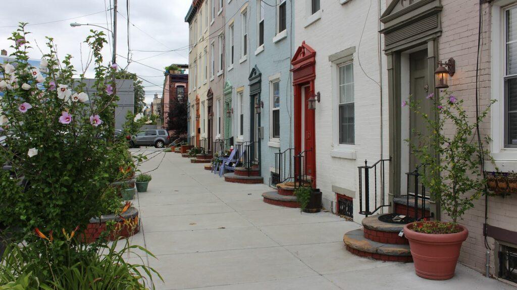 Philadelphia neighborhoods - buildings and flowers