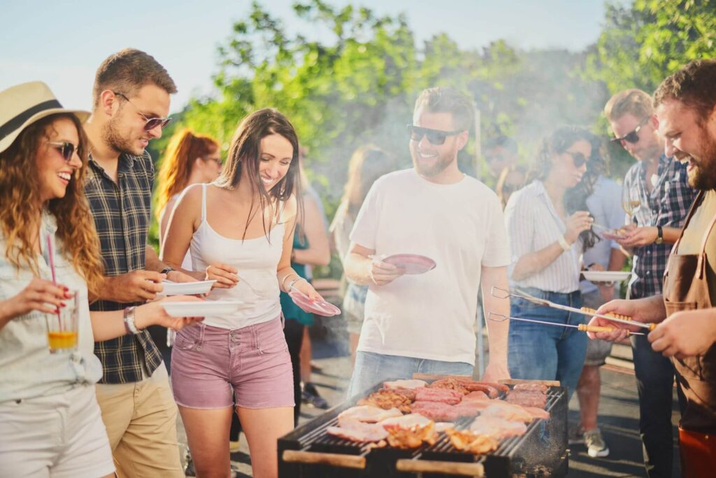 People barbecuing