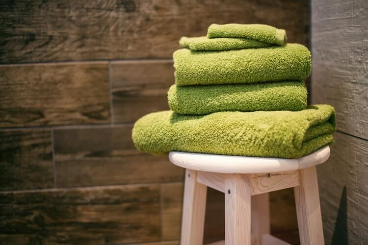 A stack of green towels