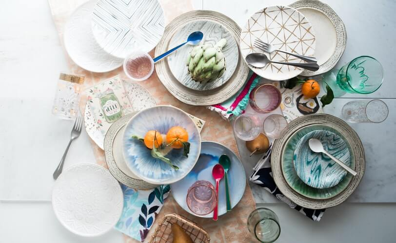 Plane view of the colorful dishes on the table