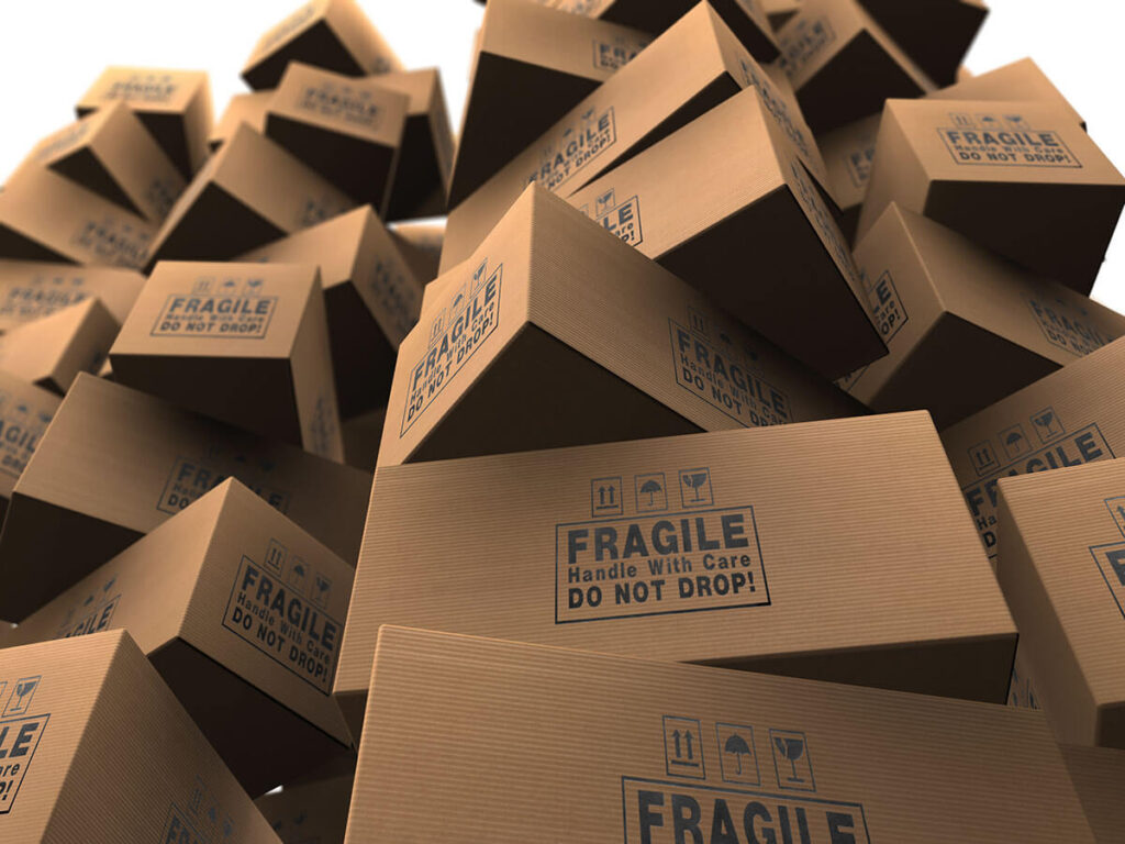 Pile of cardboard packages waiting for Philadelphia movers