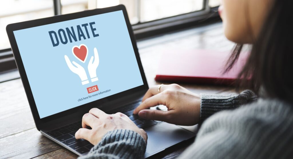 """Woman typing on the laptop, """"donate"""" written on the screen"""