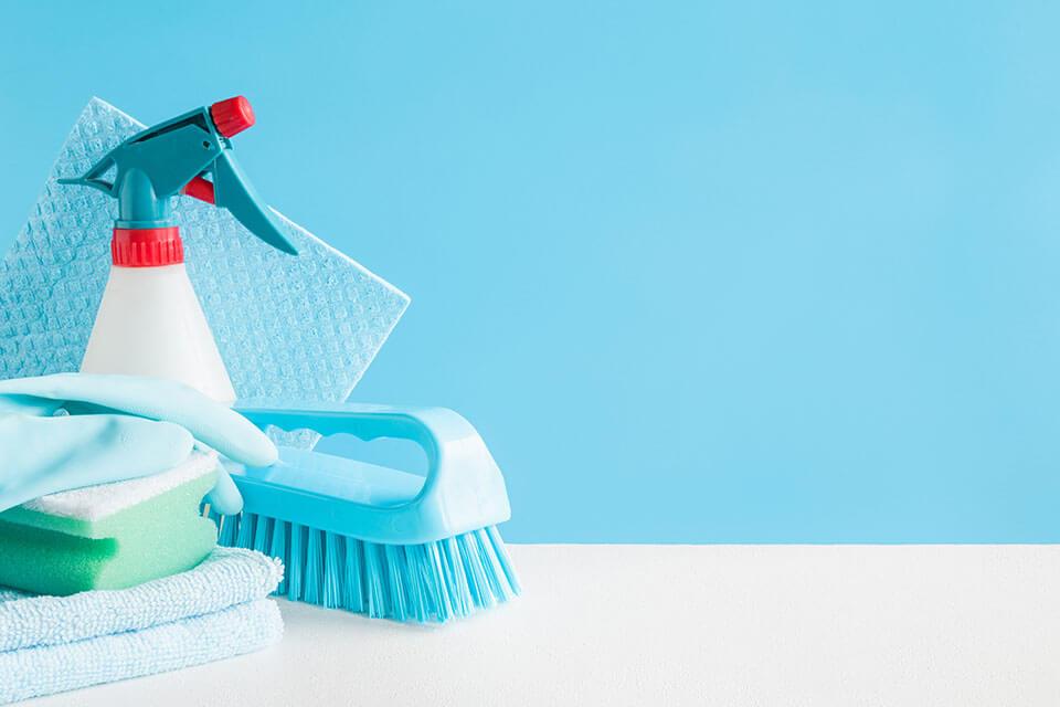 Gloves, sponge, brush, cloths, and a spray bottle