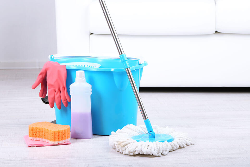 Mop, bucket, chemical, sponge, and gloves next to the white couch