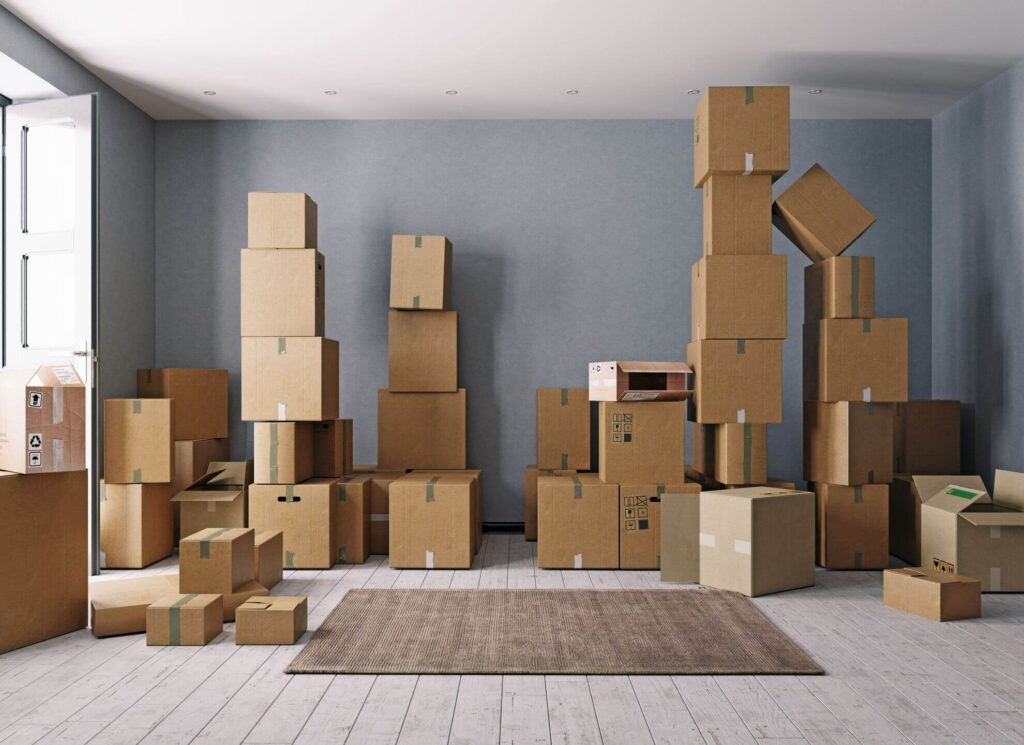 Room full of cardboard boxes