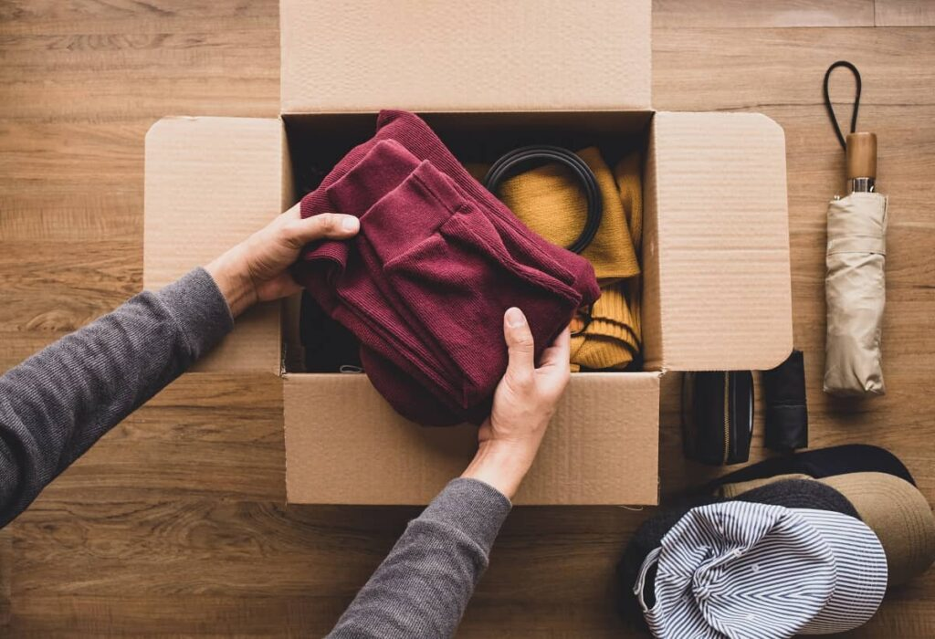 Clothing sorted in a box by Philadelphia movers